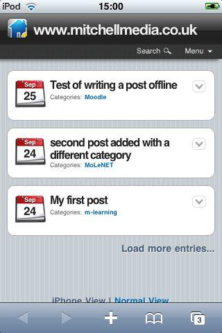 WordPress iPod Theme showing postings