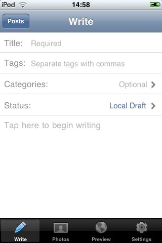 iPod Touch WordPress App showing write screen
