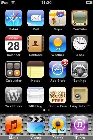 iPod Touch screen showing WordPress App