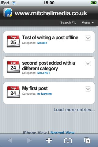 WordPress iPod Theme showing postings