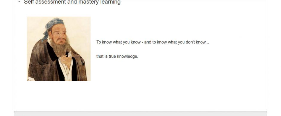 Self assessment and mastery learning